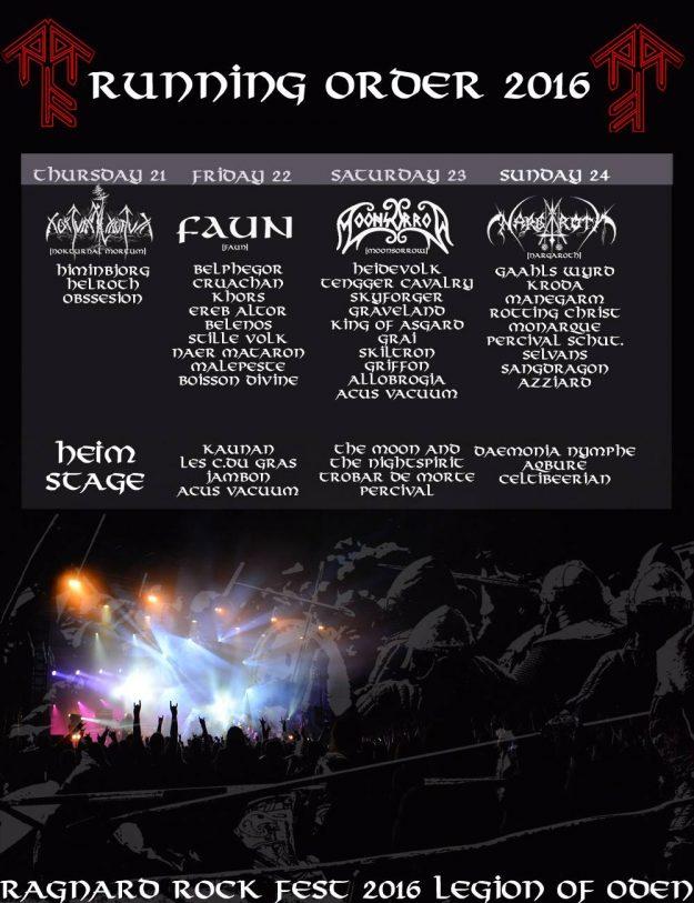 Ragnard Rock 2016 running order